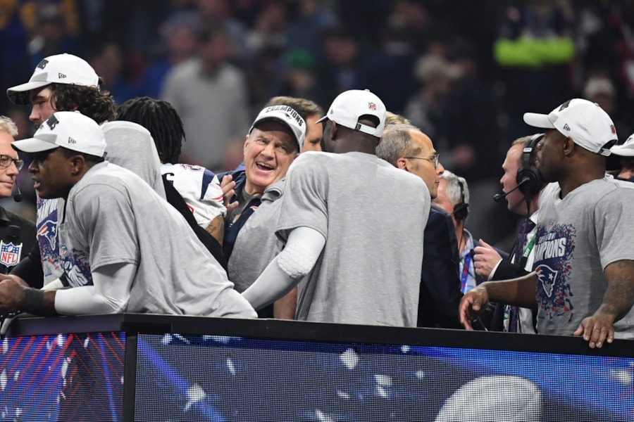 Feb 3, 2019; Atlanta, GA, USA; New England Patriots head coach Bill Belichick celebrates their victory in Super Bowl LIII at Mercedes-Benz Stadium. Mandatory Credit: Kirby Lee-USA TODAY Sports