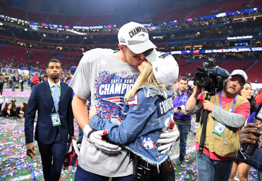 Feb 3, 2019; Atlanta, GA, USA; New England Patriots tight end Rob Gronkowski (87) with girlfriend Camille Kostek after winning Super Bowl LIII against the Los Angeles Rams at Mercedes-Benz Stadium. Mandatory Credit: Christopher Hanewinckel-USA TODAY Sports