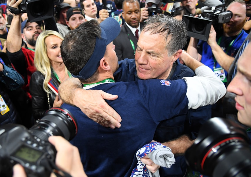 (EDITORS NOTE: caption correction) Feb 3, 2019; Atlanta, GA, USA; New England Patriots head coach Bill Belichick greets a Los Angeles Rams coach after Super Bowl LIII at Mercedes-Benz Stadium. Mandatory Credit: Christopher Hanewinckel-USA TODAY Sports