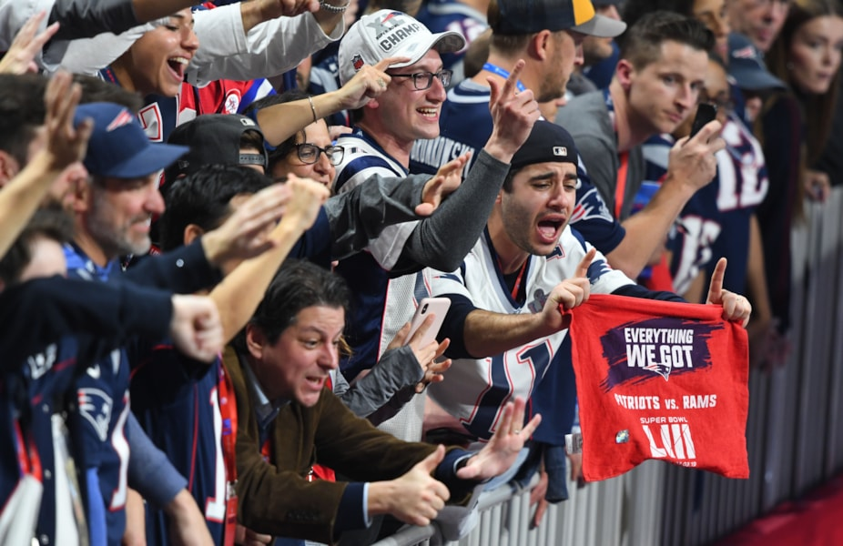 Feb 3, 2019; Atlanta, GA, USA; New England Patriots fans celebrate after the Patriots victory over the Los Angeles Rams in Super Bowl LIII at Mercedes-Benz Stadium. Mandatory Credit: John David Mercer-USA TODAY Sports