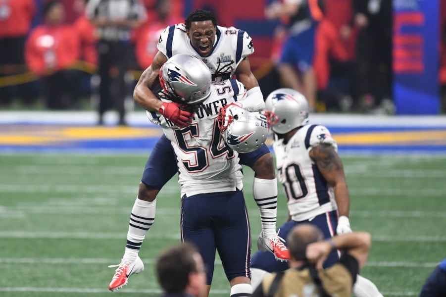 Feb 3, 2019; Atlanta, GA, USA; New England Patriots defensive back J.C. Jackson (27) and outside linebacker Dont'a Hightower (54) celebrate after Super Bowl LIII against the Los Angeles Rams at Mercedes-Benz Stadium. Mandatory Credit: Dale Zanine-USA TODAY Sports