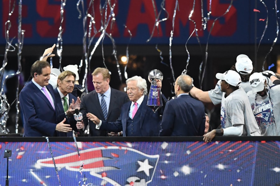 Feb 3, 2019; Atlanta, GA, USA; New England Patriots owner Robert Kraft holds up the Vince Lombardi Trophy after Super Bowl LIII against the Los Angeles Rams at Mercedes-Benz Stadium. Mandatory Credit: Dale Zanine-USA TODAY Sports