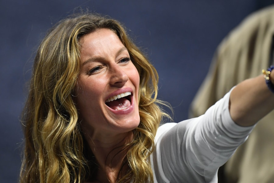 Feb 3, 2019; Atlanta, GA, USA; Gisele Bundchen reacts after Super Bowl LIII between the New England Patriots and the Los Angeles Rams at Mercedes-Benz Stadium. Mandatory Credit: Dale Zanine-USA TODAY Sports