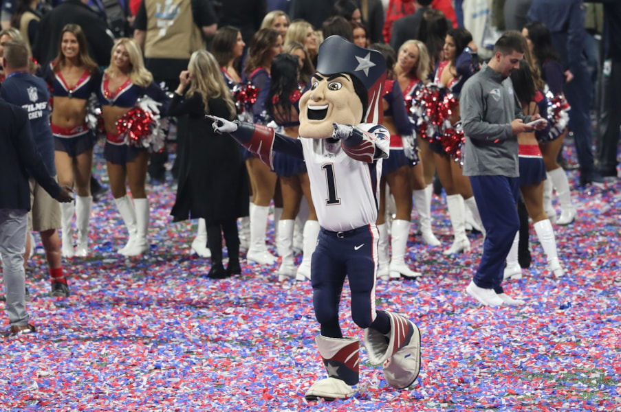 Feb 3, 2019; Atlanta, GA, USA; New England Patriots mascot Pat Patriot celebrates after the Patriots victory over the Los Angeles Rams inSuper Bowl LIII at Mercedes-Benz Stadium. Mandatory Credit: Jason Getz-USA TODAY Sports
