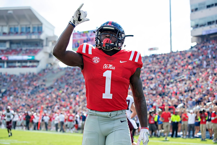 OXFORD, MS - SEPTEMBER 8: A.J. Brown of the Mississippi Rebels points to the sky after scoring a touchdown against the Southern Illinois Salukis during the first half at Vaught-Hemingway Stadium. (Photo by Wesley Hitt/Getty Images)