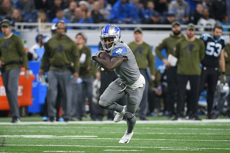 Nov 18, 2018; Detroit, MI: Detroit Lions wide receiver Bruce Ellington during the game against the Carolina Panthers at Ford Field. (Tim Fuller-USA TODAY Sports)