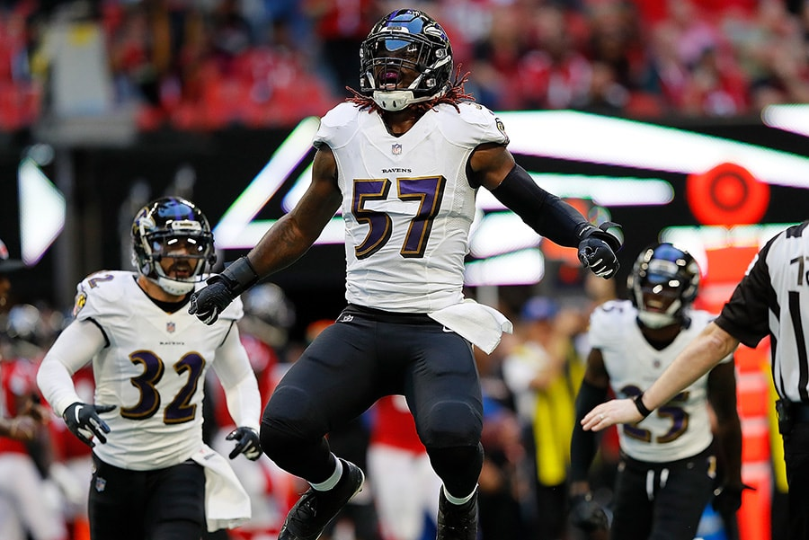 ATLANTA, GA - DECEMBER 02: C.J. Mosley of the Baltimore Ravens reacts after a defensive stop against the Atlanta Falcons at Mercedes-Benz Stadium. (Photo by Kevin C. Cox/Getty Images)