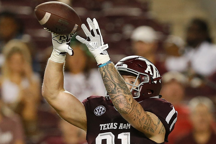 COLLEGE STATION, TX - SEPTEMBER 15: Jace Sternberger of the Texas A&M Aggies catches a pass for a 20-yard touchdown in the fourth quarter against the Louisiana Monroe Warhawks at Kyle Field. (Photo by Bob Levey/Getty Images)
