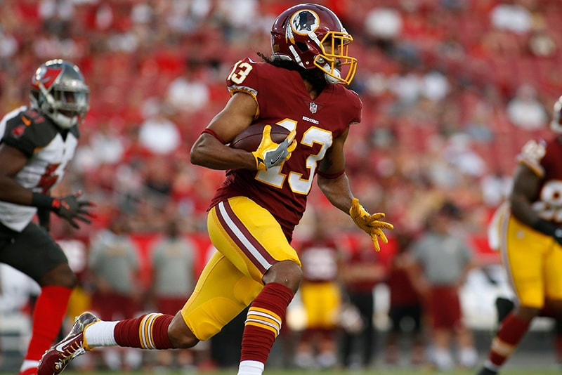 TAMPA, FL - AUGUST 31: Wide receiver Maurice Harris of the Washington Redskins runs for several yards during the first quarter of an NFL preseason football game against the Tampa Bay Buccaneers on August 31, 2017 at Raymond James Stadium. (Photo by Brian Blanco/Getty Images)