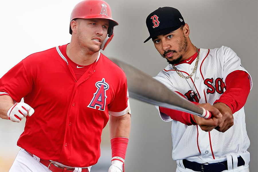 (L-R) Angels outfielder Mike Trout and Red Sox outfielder Mookie Betts (Rick Scuteri/Jason Vinlove, USA TODAY Sports)