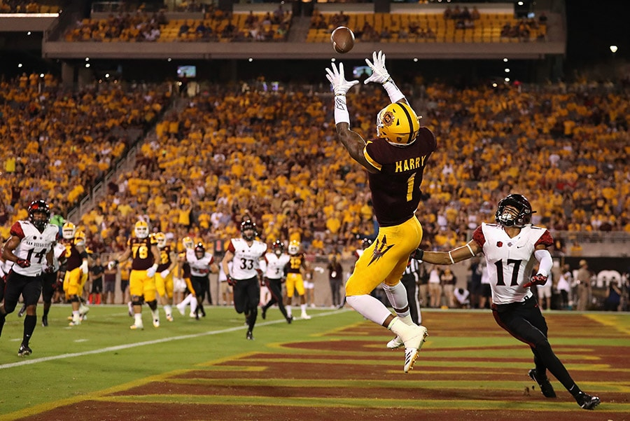 TEMPE, AZ - SEPTEMBER 09: Wide receiver N'Keal Harry of the Arizona State Sun Devils catches a five yard touchdown pass against cornerback Ron Smith of the San Diego State Aztecs during the first half of the college football game at Sun Devil Stadium. (Photo by Christian Petersen/Getty Images)