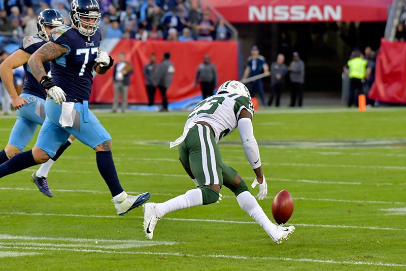 Dec 2, 2018; Nashville, TN: New York Jets defensive back Terrence Brooks goes for the Tennessee Titans kicker Ryan Succop (not pictured) blocked extra point attempt during the first half at Nissan Stadium. (Jim Brown-USA TODAY Sports)