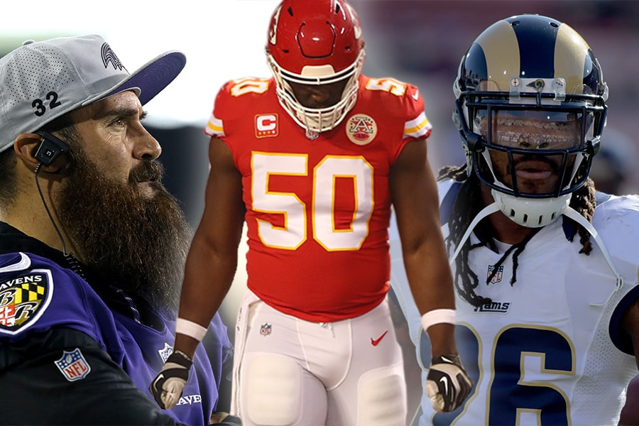 (L-R) Safety Eric Weddle, linebacker Justin Houston, linebacker Mark Barron (Aaron Doster/Mark J. Rebilas/Kirby Lee/USA Today Sports)