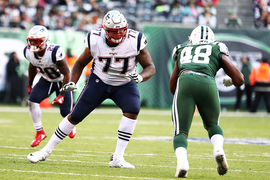 EAST RUTHERFORD, NEW JERSEY - NOVEMBER 25: Trent Brown of the New England Patriots in action against the New York Jets during their game at MetLife Stadium. (Photo by Al Bello/Getty Images)