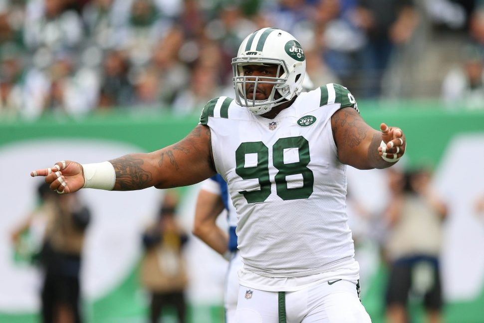 Oct 14, 2018; East Rutherford, NJ: New York Jets defensive tackle Mike Pennel celebrates during the first half against the Indianapolis Colts at MetLife Stadium. (Vincent Carchietta-USA TODAY Sports)