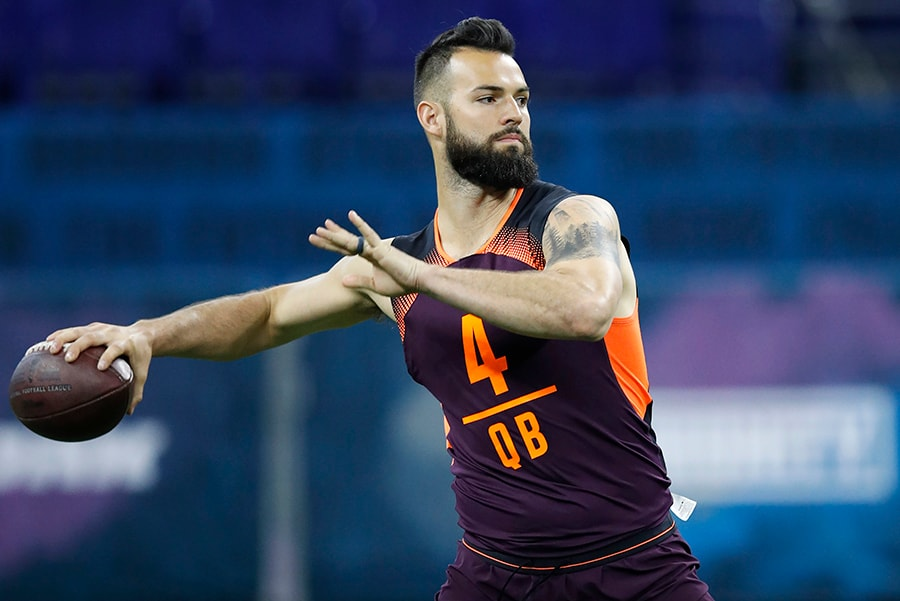 INDIANAPOLIS, IN - MARCH 02: Quarterback Will Grier of West Virginia works out during day three of the NFL Combine at Lucas Oil Stadium. (Photo by Joe Robbins/Getty Images)
