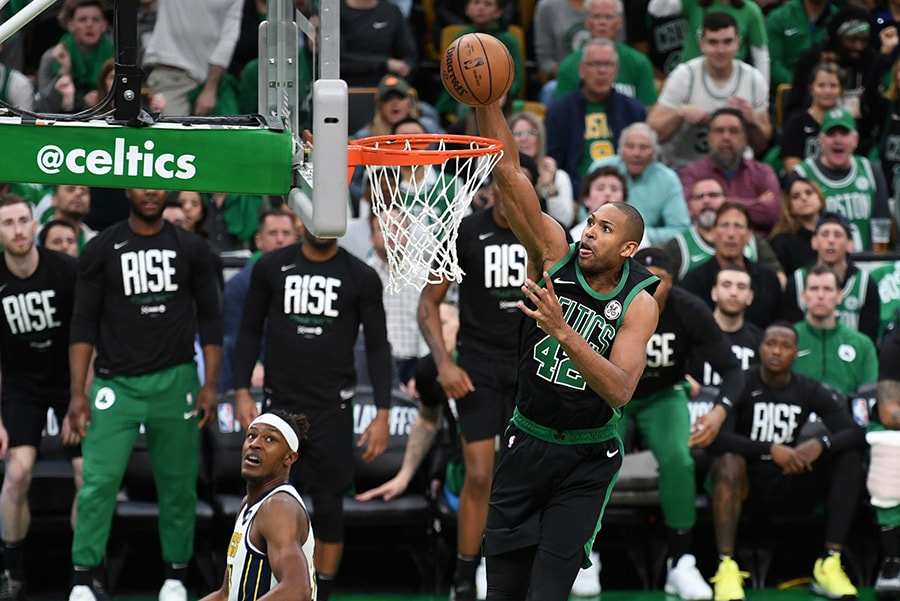 Apr 14, 2019; Boston, MA: Boston Celtics center Al Horford dunks the ball during the first half in Game 1 of the first round of the 2019 NBA Playoffs against the Indiana Pacers at TD Garden. (Bob DeChiara-USA TODAY Sports)