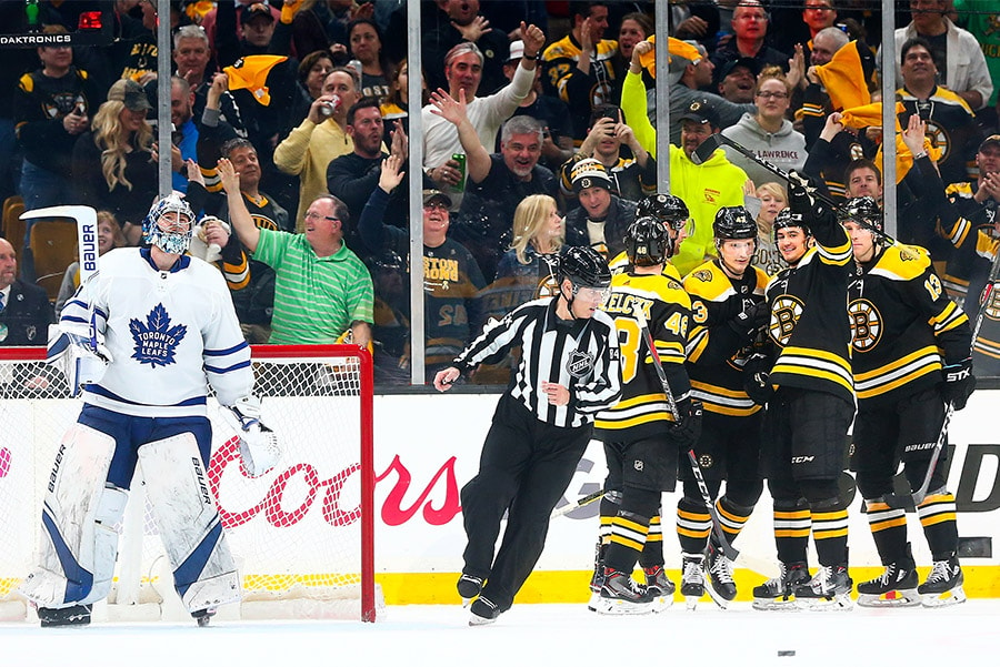 Bruins vs Leafs, Game 1: Danton Heinen of the Boston Bruins celebrates after scoring in the second period of a game against the Toronto Maple Leafs in Game 2 of the Eastern Conference First Round during the 2019 NHL Stanley Cup Playoffs at TD Garden. (Photo by Adam Glanzman/Getty Images)