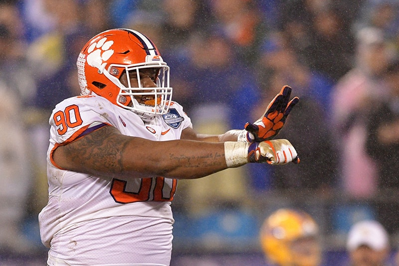 Dexter Lawrence of the Clemson Tigers reacts against the Pittsburgh Panthers in the first quarter during their game at Bank of America Stadium on December 1, 2018 in Charlotte, North Carolina. (Photo by Grant Halverson/Getty Images)