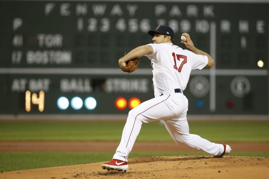 Apr 11, 2019; Boston, MA: Boston Red Sox starting pitcher Nathan Eovaldi delivers a pitch during the first inning against the Toronto Blue Jays at Fenway Park. (Greg M. Cooper-USA TODAY Sports)