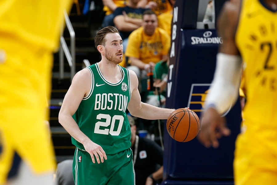 Apr 19, 2019; Indianapolis, IN: Boston Celtics forward Gordon Hayward brings the ball up court against the Indiana Pacers during the third quarter in Game 3 of the first round of the 2019 NBA Playoffs at Bankers Life Fieldhouse. (Brian Spurlock-USA TODAY Sports)