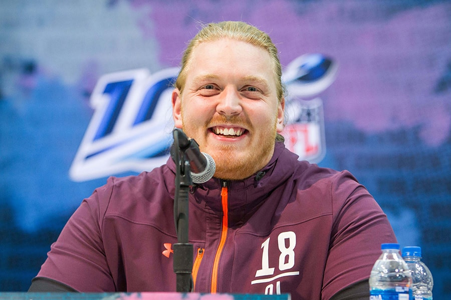Feb 28, 2019; Indianapolis, IN: Arkansas offensive lineman Hjalte Froholdt speaks to media during the 2019 NFL Combine at Indianapolis Convention Center. (Trevor Ruszkowski-USA TODAY Sports)
