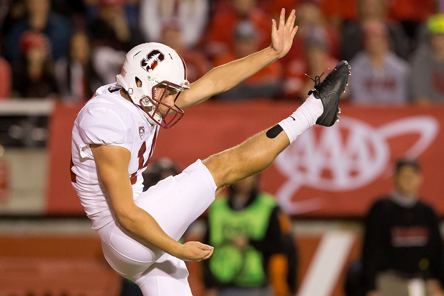 Oct 7, 2017; Salt Lake City, UT: Stanford Cardinal punter Jake Bailey punts the ball during the first quarter against the Utah Utes at Rice-Eccles Stadium. (Russ Isabella-USA TODAY Sports)