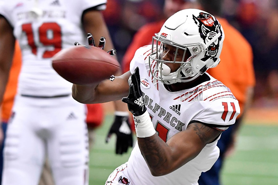 Oct 27, 2018; Syracuse, NY: North Carolina State Wolfpack wide receiver Jakobi Meyers makes a catch up prior to a game against the Syracuse Orange at the Carrier Dome. (Mark Konezny-USA TODAY Sports)