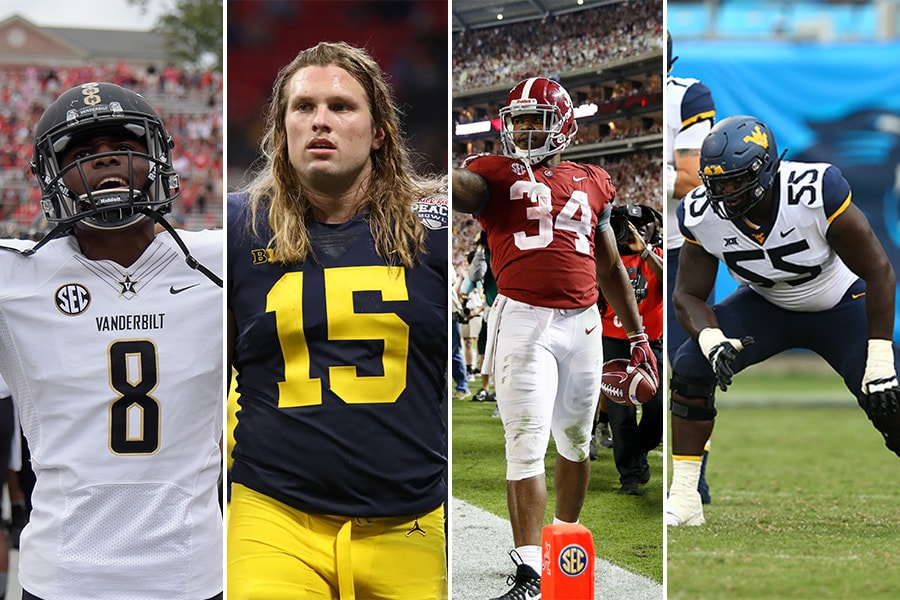 Day 2 selections for the New England Patriots at the 2019 NFL Draft. From L-R: Vanderbilt CB Joejuan Williams, Michigan DE Chase Winovich, Alabama RB Damien Harris, West Virginia OT Yodny Cajuste. (Photo credits L-R: Joe Robbins/Getty Images; Dale Zanine/Jason Getz/Jeremy Brevard, USA Today Sports)