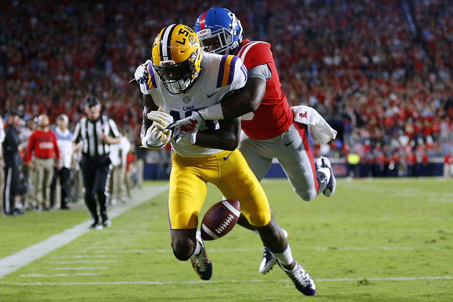 Ken Webster of the Mississippi Rebels breaks up a pass intended for Stephen Sullivan of the LSU Tigers during the first half of a game at Vaught-Hemingway Stadium on October 21, 2017 in Oxford, Mississippi. (Photo by Jonathan Bachman/Getty Images)