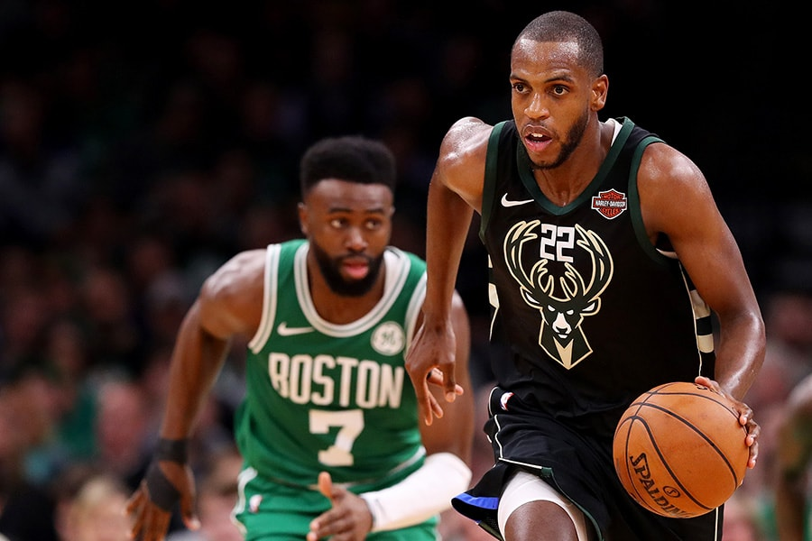 Khris Middleton of the Milwaukee Bucks drives against the Boston Celtics at TD Garden on December 21, 2018 in Boston, Massachusetts. (Photo by Maddie Meyer/Getty Images)