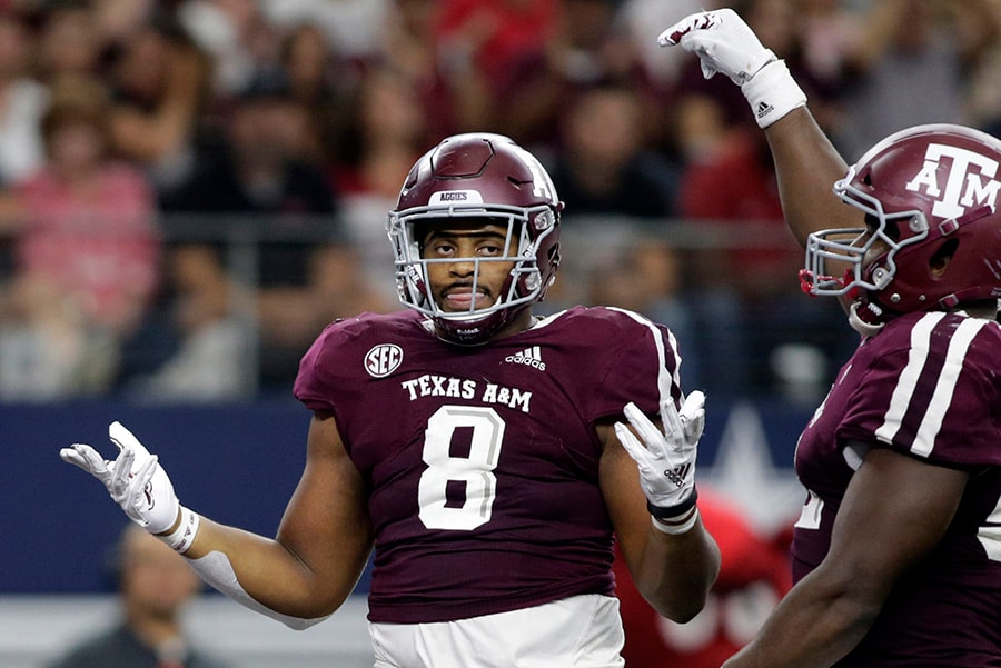 Sep 29, 2018; Arlington, TX: Texas A&M Aggies defensive lineman Kingsley Keke reacts after making a sack in the third quarter against the Arkansas Razorbacks at AT&T Stadium. (Tim Heitman-USA TODAY Sports)
