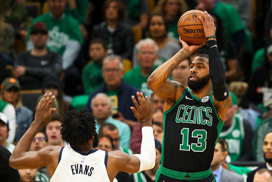 BOSTON, MA - APRIL 14: Marcus Morris of the Boston Celtics shoots the ball over Tyreke Evans of the Indiana Pacers during Game 1 of the first round of the 2019 NBA Playoffs. (Photo by Adam Glanzman/Getty Images)