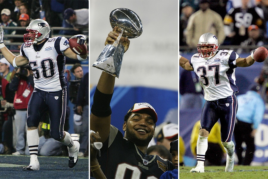 L-R: Mike Vrabel, Richard Seymour, Rodney Harrison (Jed Jacobsohn/Donald Miralle/Brian Bahr, Getty Images)