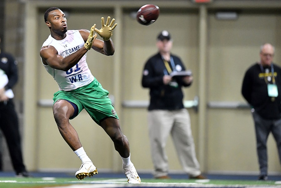 Mar 20, 2019; Notre Dame, IN: Notre Dame Fighting Irish wide receiver Miles Boykin catches a ball during Notre Dame Pro Day at the Loftus Center. (Matt Cashore-USA TODAY Sports)