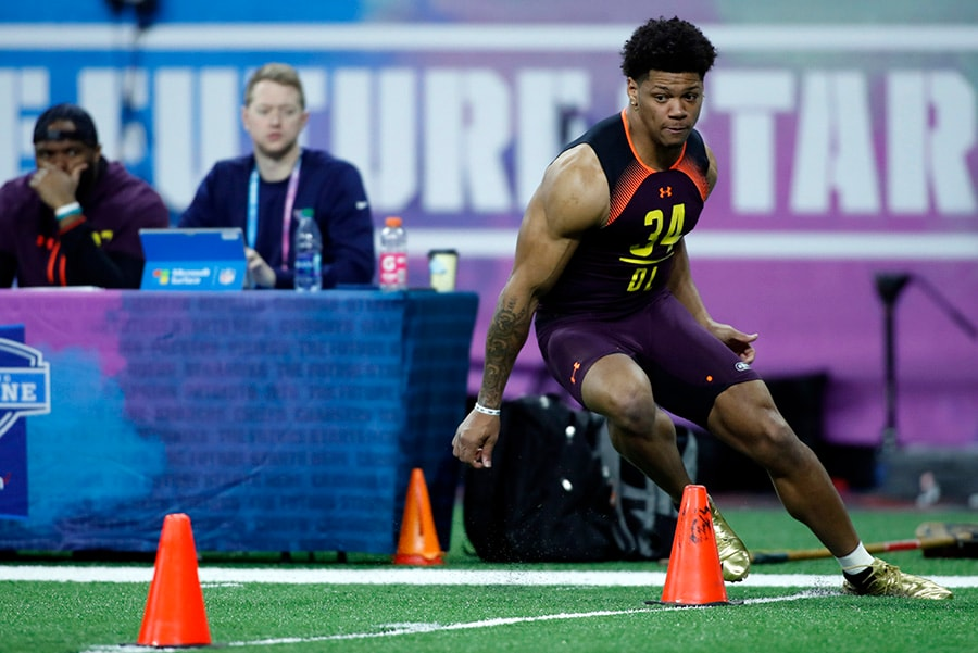 Mar 3, 2019; Indianapolis, IN: Akron defensive lineman Jamal Davis does the three cone drill during the 2019 NFL Combine at Lucas Oil Stadium. (Brian Spurlock-USA TODAY Sports)