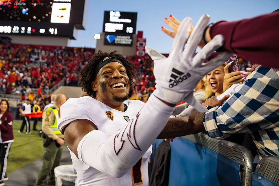 Nov 24, 2018; Tucson, AZ: Arizona State Sun Devils wide receiver N'Keal Harry celebrates after defeating the Arizona Wildcats during the Territorial Cup at Arizona Stadium. (Mark J. Rebilas-USA TODAY Sports)