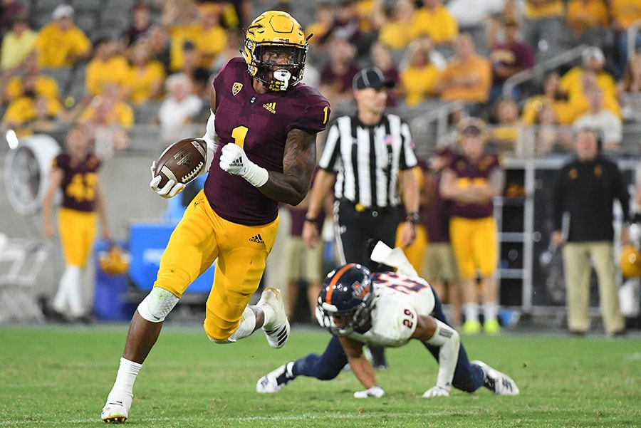 Wide receiver N'Keal Harry of the Arizona State Sun Devils runs the ball for a 31-yard touchdown against the UTSA Roadrunners in the second half at Sun Devil Stadium on September 1, 2018 in Tempe, Arizona. (Photo by Jennifer Stewart/Getty Images)