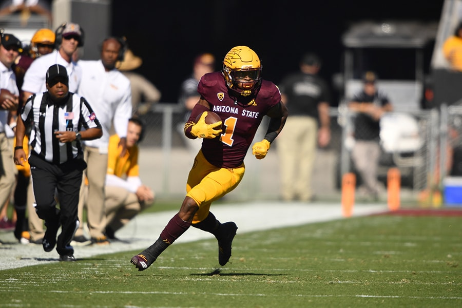 Patriots wide receiver N'Keal Harry (#1) at Arizona State. (Courtesy Arizona State Athletics)