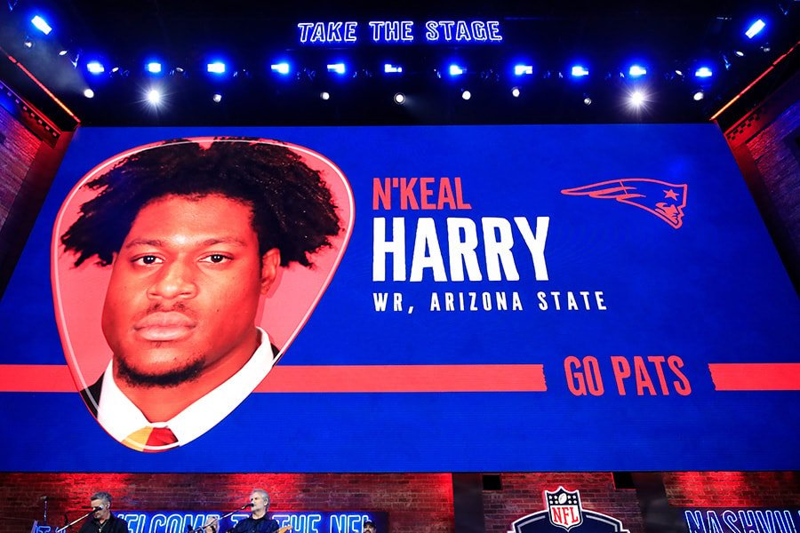 A video board displays an image of N'Keal Harry of Arizona State after he was chosen overall by the New England Patriots during the first round of the 2019 NFL Draft on April 25, 2019 in Nashville, Tennessee. (Photo by Andy Lyons/Getty Images)