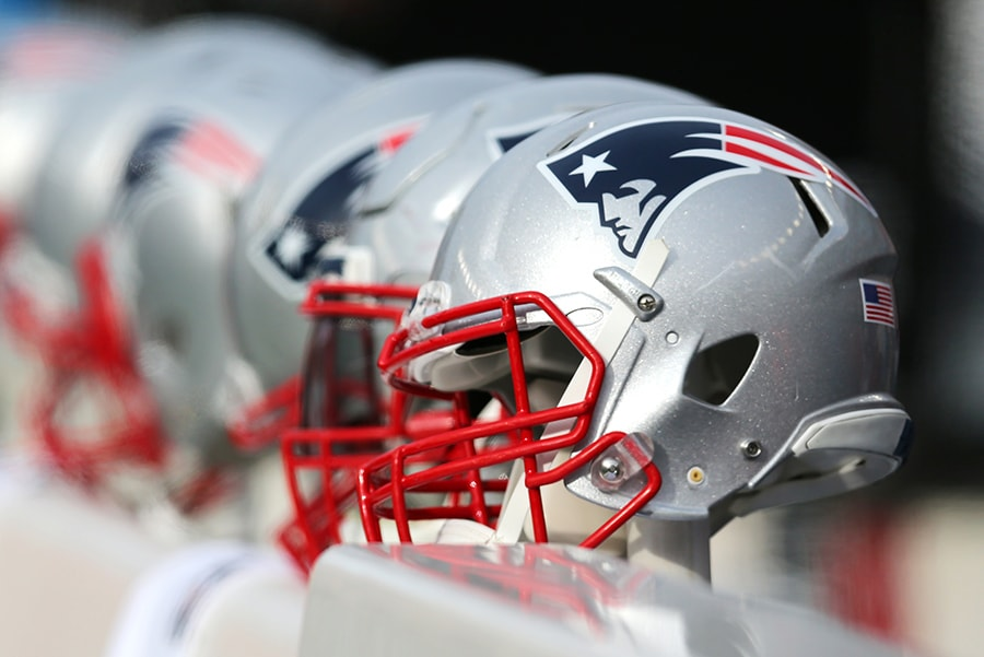 A New England Patriots helmet during the first half of the game between the New England Patriots and the Buffalo Bills at Gillette Stadium on December 24, 2017 in Foxboro, Massachusetts. (Photo by Maddie Meyer/Getty Images)