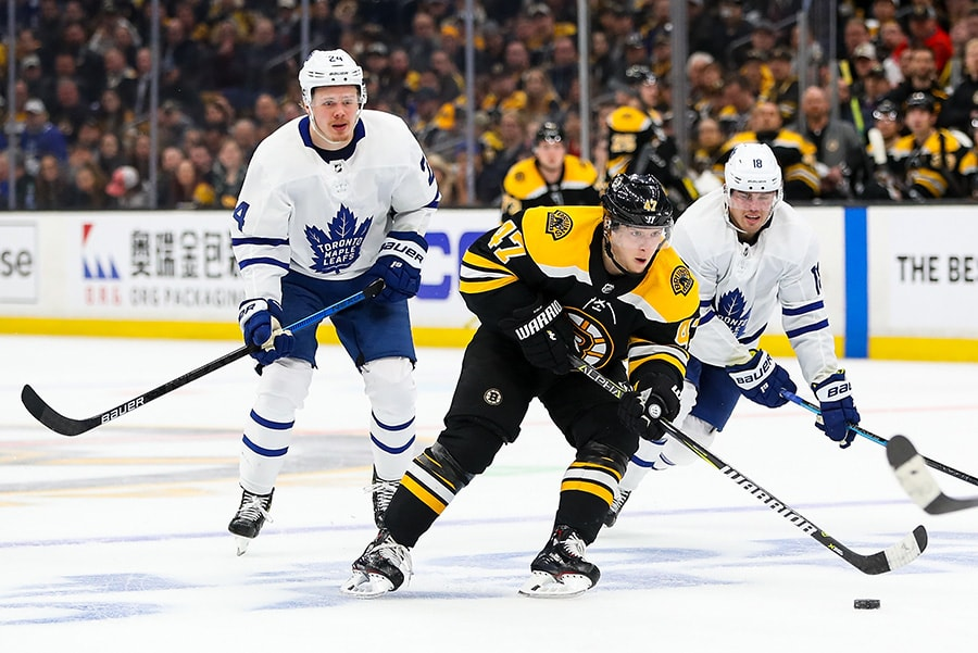 BOSTON, MA - APRIL 11: Torey Krug of the Boston Bruins skates with the puck in Game 1 of the Eastern Conference First Round against the Toronto Maple Leafs during the 2019 NHL Stanley Cup Playoffs at TD Garden. (Photo by Adam Glanzman/Getty Images)