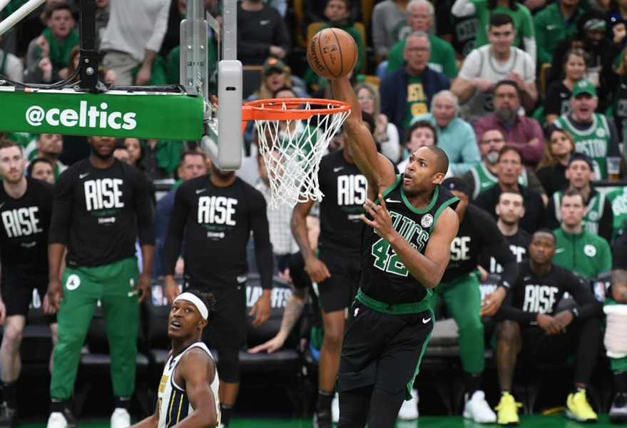 Apr 14, 2019; Boston, MA, USA; Boston Celtics center Al Horford (42) dunks the ball during the first half in game one of the first round of the 2019 NBA Playoffs against the Indiana Pacers at TD Garden. Mandatory Credit: Bob DeChiara-USA TODAY Sports