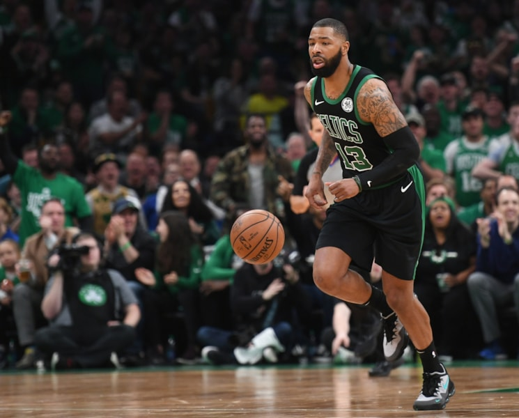 Apr 14, 2019; Boston, MA, USA; Boston Celtics forward Marcus Morris (13) controls the ball during the second half in game one of the first round of the 2019 NBA Playoffs against the Indiana Pacers at TD Garden. Mandatory Credit: Bob DeChiara-USA TODAY Sports