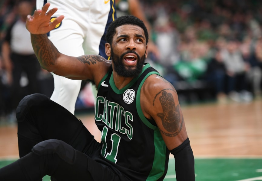 Apr 14, 2019; Boston, MA, USA; Boston Celtics guard Kyrie Irving (11) during the second half in game one of the first round of the 2019 NBA Playoffs against the Indiana Pacers at TD Garden. Mandatory Credit: Bob DeChiara-USA TODAY Sports