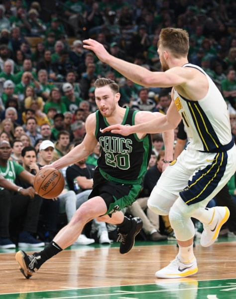 Apr 14, 2019; Boston, MA, USA; Boston Celtics forward Gordon Hayward (20) drives to the basket while Indiana Pacers forward Domantas Sabonis (11) defends during the second half in game one of the first round of the 2019 NBA Playoffs at TD Garden. Mandatory Credit: Bob DeChiara-USA TODAY Sports