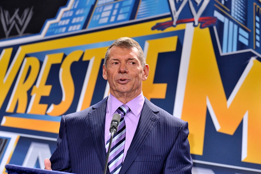 EAST RUTHERFORD, NJ - FEBRUARY 16: Vince McMahon attends a press conference to announce that WWE Wrestlemania 29 will be held at MetLife Stadium in 2013 at MetLife Stadium. (Photo by Michael N. Todaro/Getty Images)