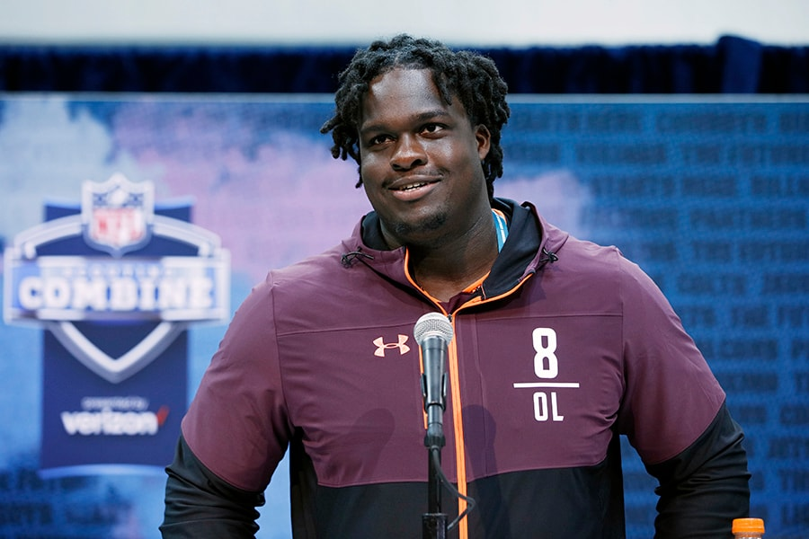 Offensive lineman Yodny Cajuste of West Virginia speaks to the media during day one of interviews at the NFL Combine at Lucas Oil Stadium on February 28, 2019 in Indianapolis, Indiana. (Photo by Joe Robbins/Getty Images)