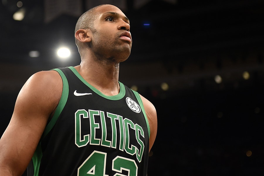 Apr 14, 2019; Boston, MA: Boston Celtics center Al Horford during the second half in game one of the first round of the 2019 NBA Playoffs against the Indiana Pacers at TD Garden. (Bob DeChiara-USA TODAY Sports)