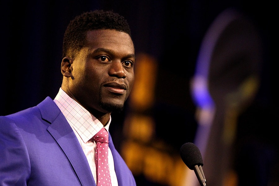 Finalist Benjamin Watson of the New Orleans Saints speaks during the 2015 Walter Payton Man of the Year Finalist press conference prior to Super Bowl 50 at the Moscone Center West on February 5, 2016 in San Francisco, California. (Photo by Mike Lawrie/Getty Images)